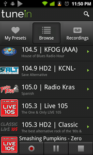 Top Android App TuneIn Radio List